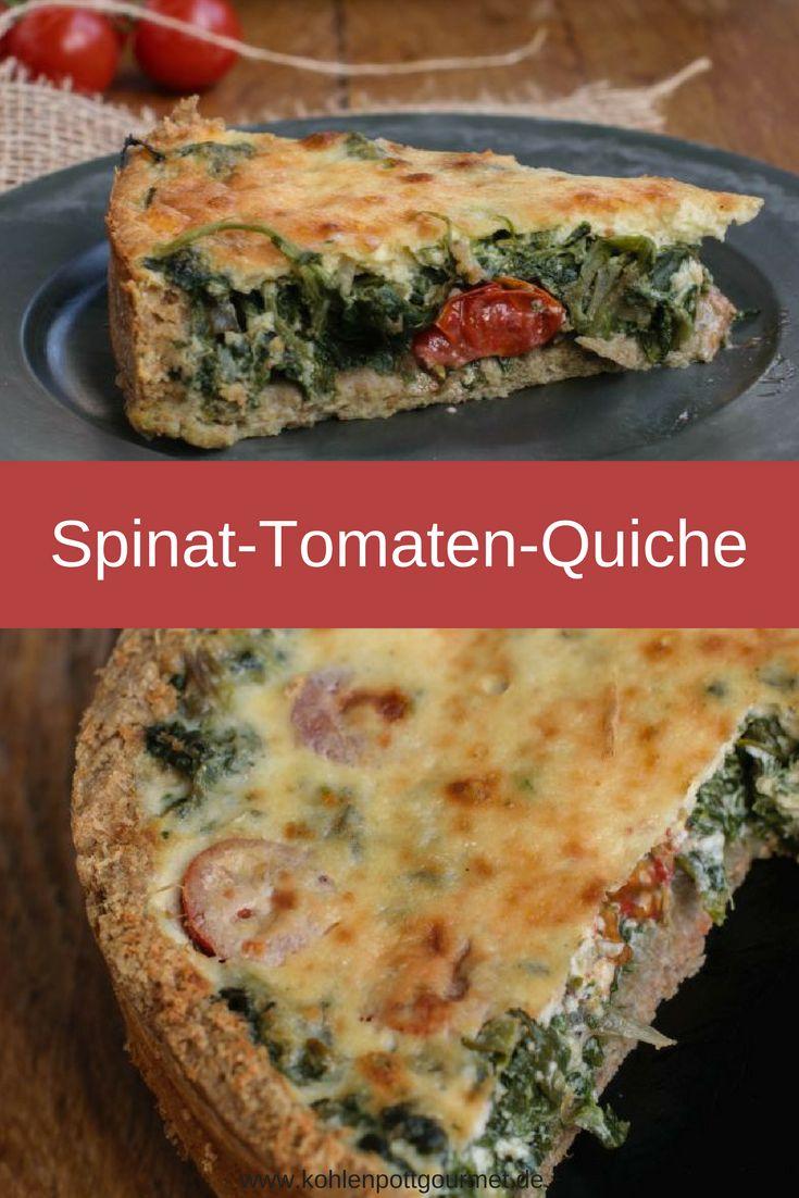 Ein Rezept für eine herzhafte und gesunde Spinat-Tomaten-Quiche auf einem Vollkorndinkelmehlboden; geringer Aufwand- super leckeres Ergebnis !