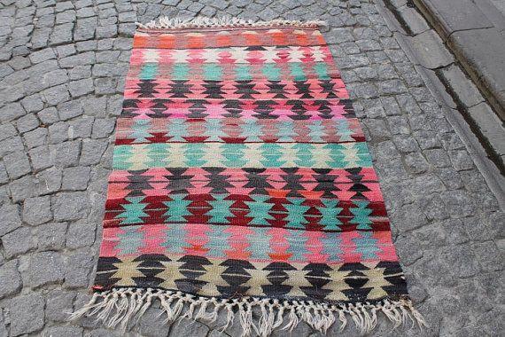 Turkish Kilim Rug 55.51''x37.40'' Anatolian Kilim by kilimpi