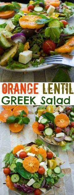 Orange Lentil Greek Salad. The perfect way to jazz up your Greek saladmake it he…