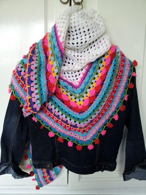 T-jonge: Nog één in zomerkleuren: Knits Crochet, Nog Één, Crochet Wraps, Summercolor, Granny Squares, Summer Colors, Ponchos, Crochet Shawl, Crochet Scarfs