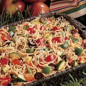 Potluck pasta salad. Looks good and easy too!