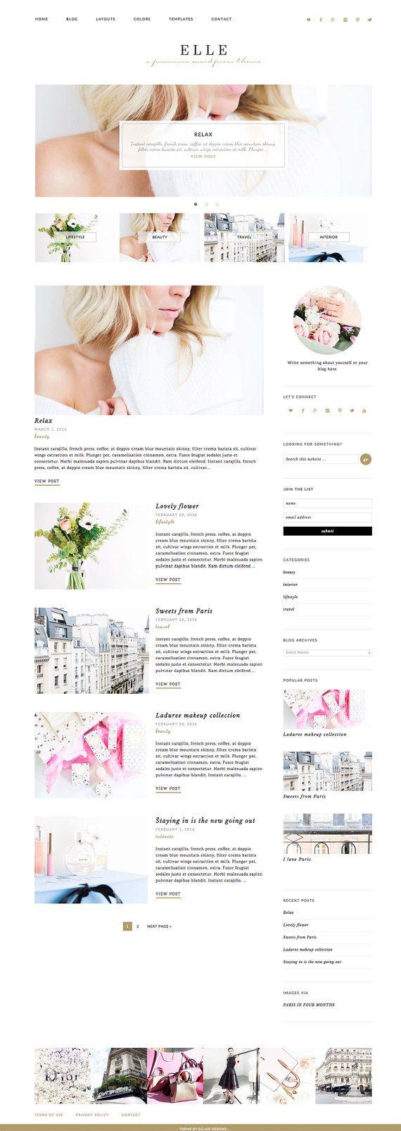 Elle est un thème Wordpress premade chic et modern avec la flexibilité et la polyvalence. Thème personnalisable couleur, changer la couleur de thème