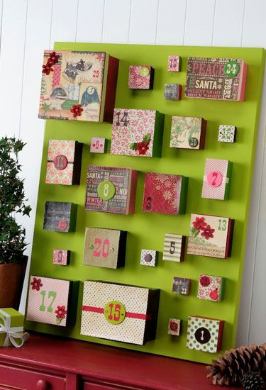 Use lots of boxes to create this bright and cheery board. Don't forget to get creative with patterns for Christmas!