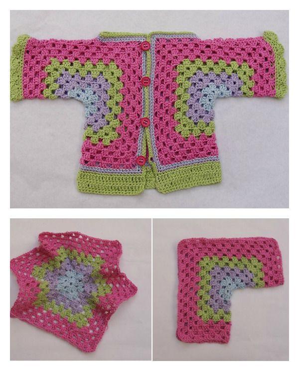 Hexagonal Baby Cardigan Sweater Free Crochet Pattern