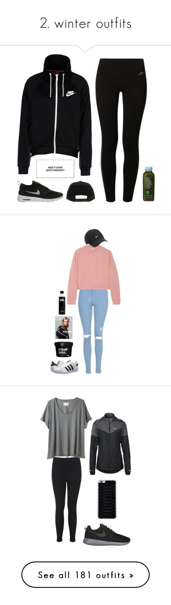"""2. winter outfits"" by noshaniya ❤ liked on Polyvore featuring NIKE, Kale, women's clothing, women, female, woman, misses, juniors, plus size clothing and Topshop"