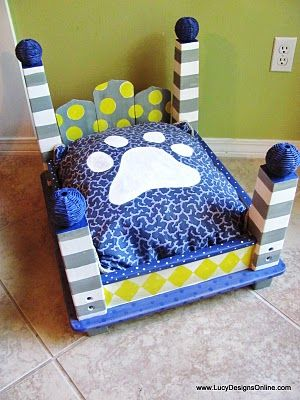 Dog Bed from End Table. I really like this idea, but not this pattern / colors! If I can find a cheap table with some interesting legs I'll try to give it more of a look that will fit with the apartment. Maybe white and a light aqua? I think Zoey would like it even if it isn't super funky colors!