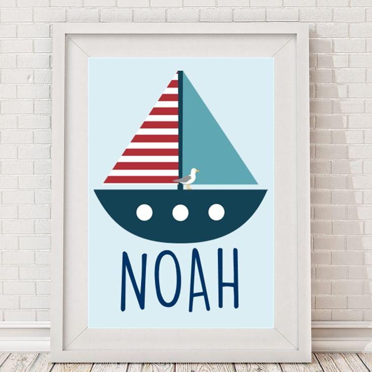 Nautical name boat print - personalised