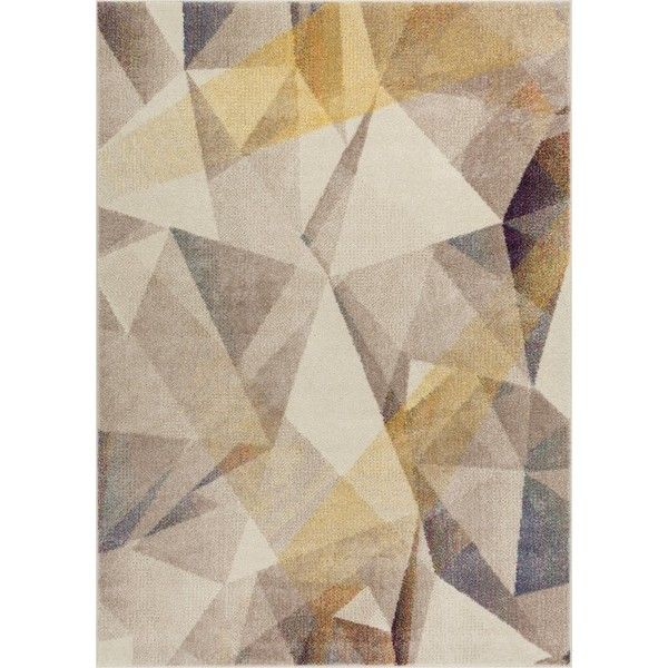 Camren Modern Geometric Prisma Triangle Beige Area Rug ❤ liked on Polyvore featuring home, rugs, geometric rug, cream area rug, cream rug, modern rugs and triangle rug