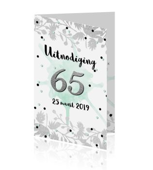 Uitnodiging 65ste verjaardag botanical zilver mint