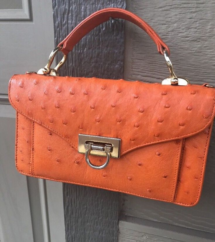 Los Altos Boots Western Wear Bright Orange Genuine Ostrich Wallet Clutch Handbag  | eBay