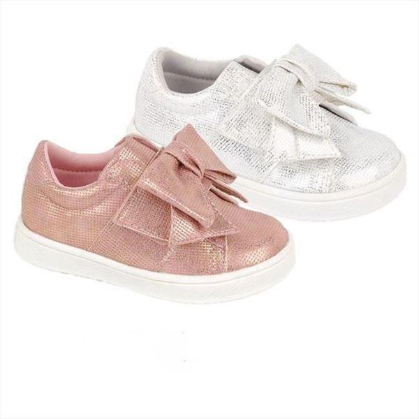 Zapatillas Deportivas baby blanco plateado modelo Lazo