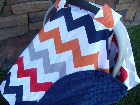 Carseat Canopy Minky Chevron Blanket Cover by BabyBundlesandBows