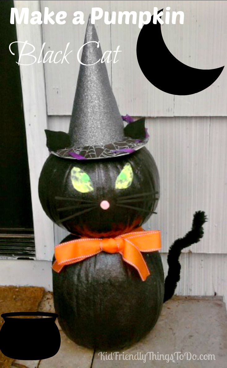 make a black cat out of pumpkins - Halloween Cat Decorations