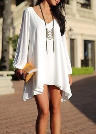 Woman Essential Long Sleeve V Neck White Dress
