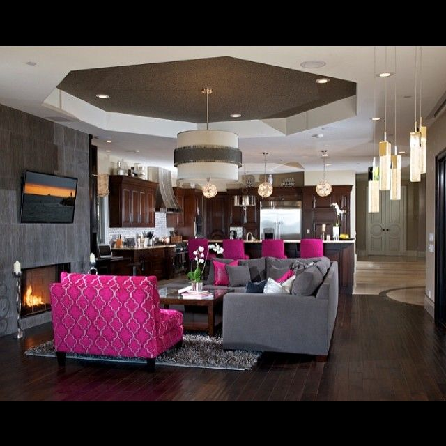 Great Gray Living Room With Accents Of Fuchsia.
