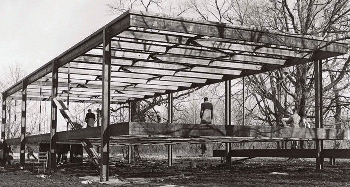 Construction of the Farnsworth house, later 1940's.