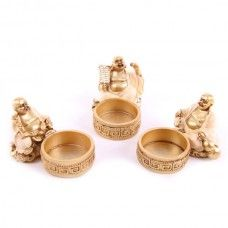 Each Laughing Buddha is made from resin and finished in gold and cream.