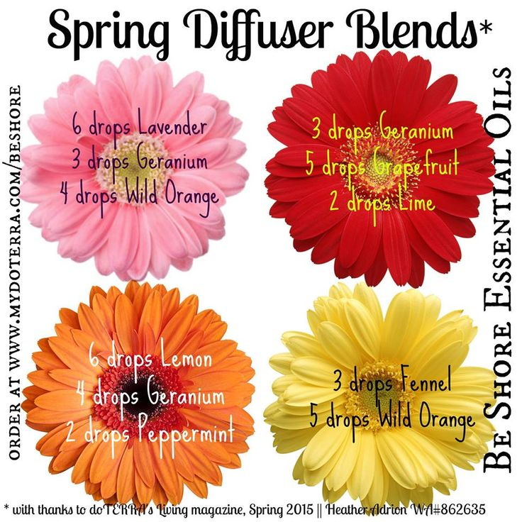 Diffuser blends for spring! Get your essential oils at www.mydoterra.com/michelleboyken. Message me to get your own wholesale account today!