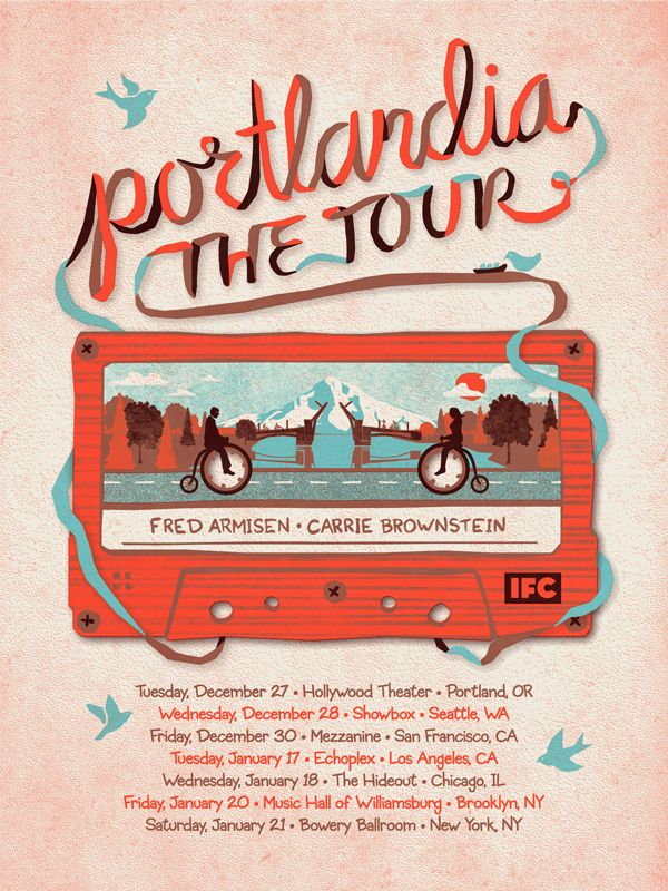 Portlandia Tour Poster: Tours Posters, Portlandia Tours, Gig Posters, Typography Posters, Posters Design, Graphics Design, Music Posters, Dkng Studios, Design Posters