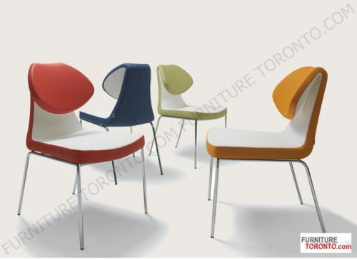 Modern Designer Side Chair This leatherette chair is a distinctive dining chair with a comfortable upholstered seat and backrest on chromed steel tube legs which are plastic tipped. The folded backrest gives chair extra comfort and futuristic look. The seat has a steel structure with S shape springs for extra flexibility and strength. This steel frame molded by injecting polyurethane foam. Chair seat is upholstered with a removable zipper and velcro enclosed leather, PPM or wool fabric slip…