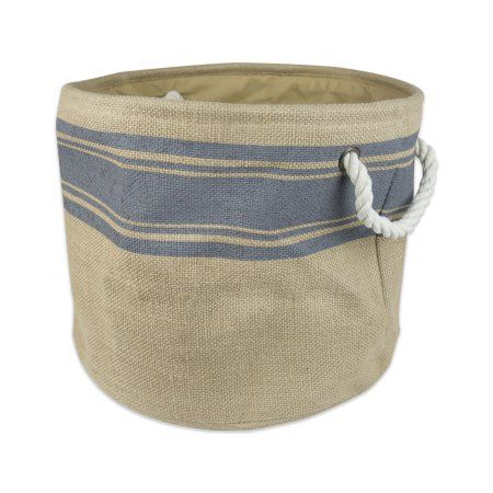 Design Imports Burlap Bin Border Gray Round Small 12 Inchx12 Inchx9 Inch Printed Jute Gray Fabric Bins Storage Bins Burlap