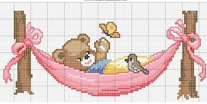 A teddy bear over the hamaca              	 - free cross stitch patterns crochet knitting amigurumi