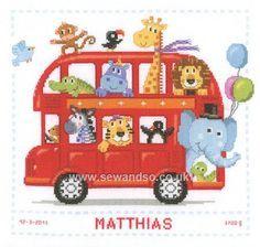 Buy Safari Bus Birth Sampler Cross Stitch Kit Online at www.sewandso.co.uk