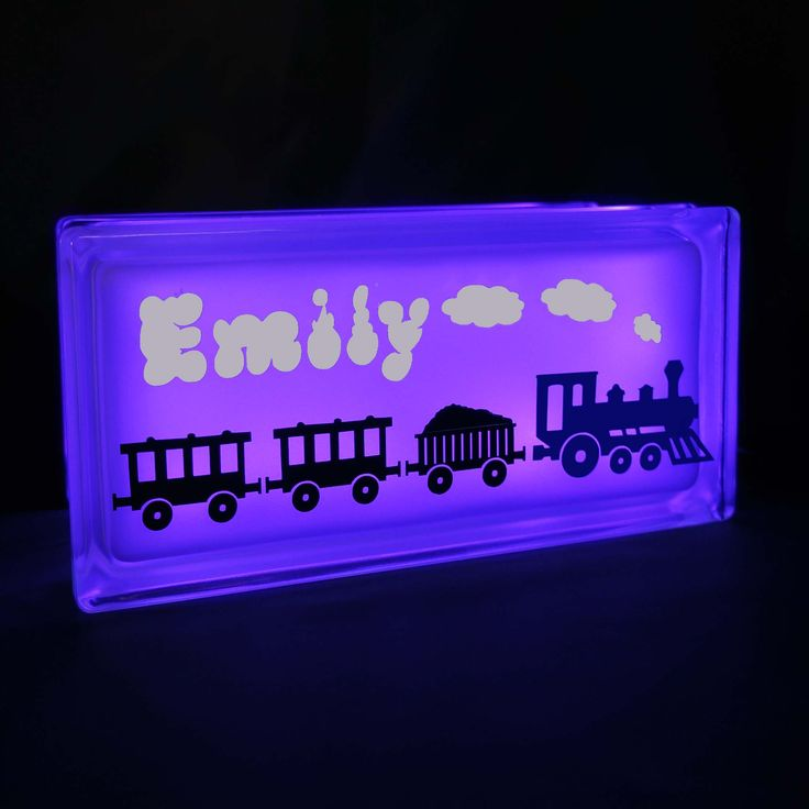 Choo Train Decal On Gl Block Night Light Personalise It With A Name To