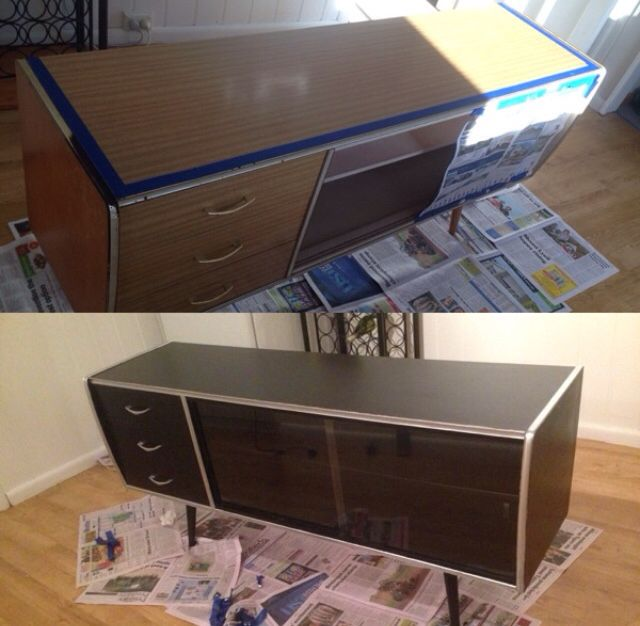 My $25.00 side board, also second hand. Before and after !!!