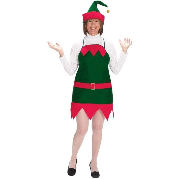 Women's Elf Holiday Apron and Hat Costume - One Size Fits Most ($26) ❤ liked on Polyvore featuring costumes, halloween, multicolor, christmas elf costume, elf costume, womens elf costume, elf halloween costume and colorful costumes