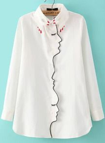 chemisier brodé col design -blanc                                                                                                                                                                                 Plus