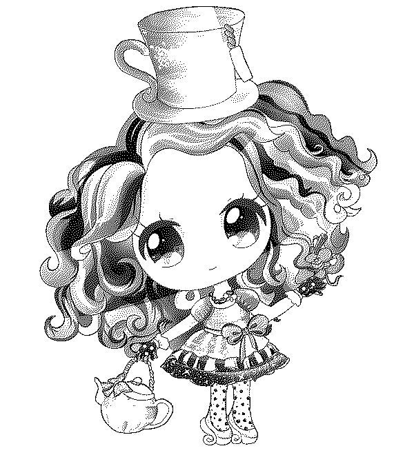 Chibi Madeline Hatter Coloring Page