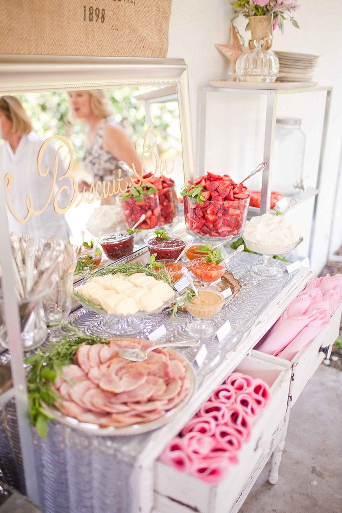 """Forget a traditional dessert buffet, and try something more unique. Summer Watkins of Grey Likes Baby traded in desserts for biscuits. """"Along with crates of biscuits, we also served savory toppings such as ham, Havarti cheese, and German mustard. For sweet toppings, we included fresh strawberries, homemade whipped cream, and lemon curd,"""" said Summer."""
