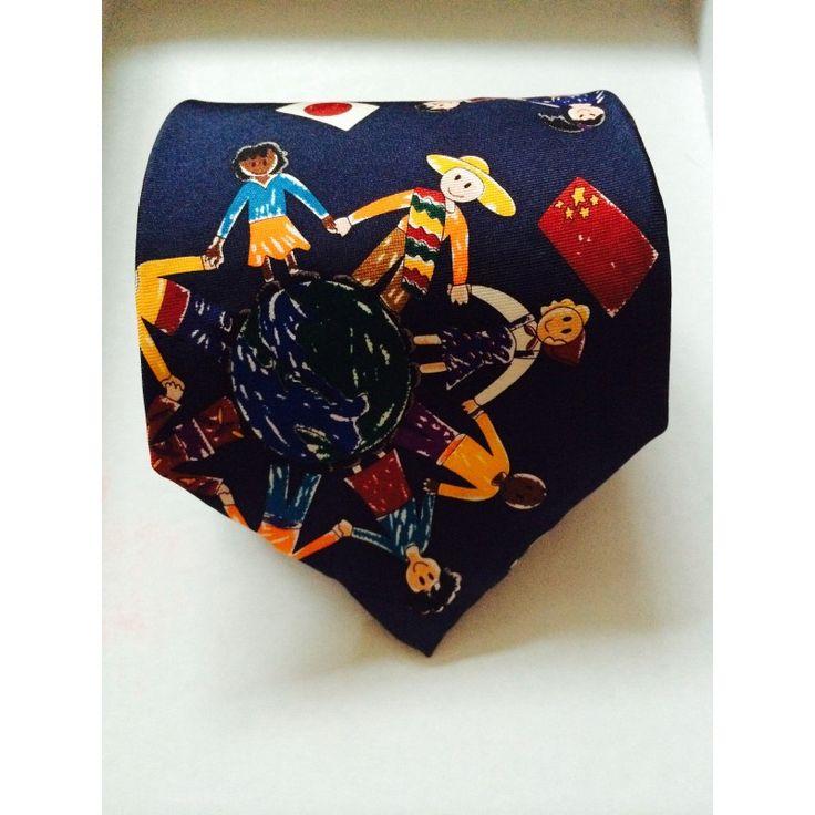 Галстук мир во всем мире темно-синий - купить в Киеве и Украине по недорогой цене, интернет-магазин