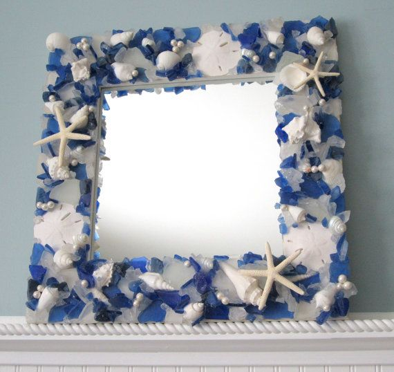 Beach Decor Sea Glass & Seashell Mirror - Nautical Shell Mirror w Beach Glass, Blue Mix on Etsy, $300.00
