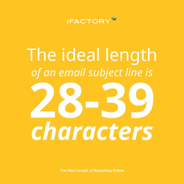 The ideal length of an email subject line is 28-39 characters. #ifactorydigital #ifactory #ideallength #webdesign #digitalagency #brisbane #emailmarketing #digitalmarketing