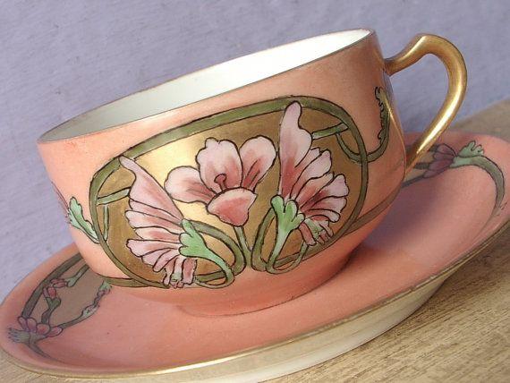 Antique 1890's Art Nouveau china teacup and saucer, Haviland Limoges tea cup, Hand painted tea cup, French porcelain teacup, Antique teacup
