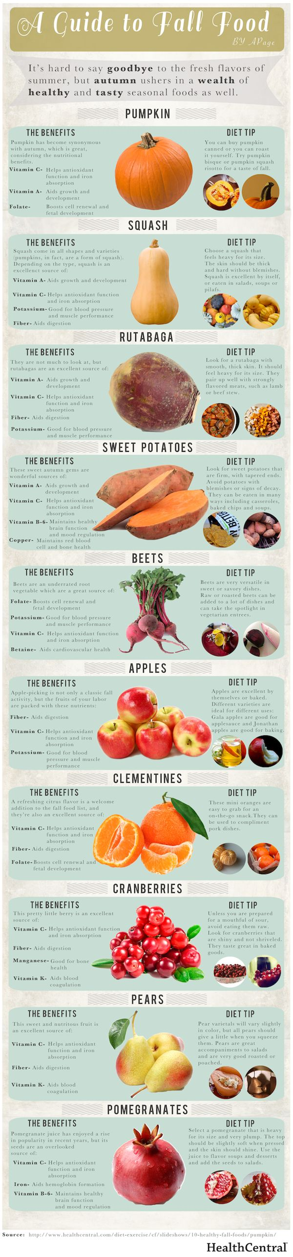 A Guide to Fall Food | NutriLiving | A Guide to Fall Food |  Published by NutriBullet | The cooler weather, the falling leaves… it must me Fall! While we'll miss the exciting flavors of summer, we're stoked to see autumn produce hitting our local groceries. Squashes and tubers and even pomegranates – and with all their nutrients, to boot!   Take a look at this list of fall favorites along with their incredible health benefits