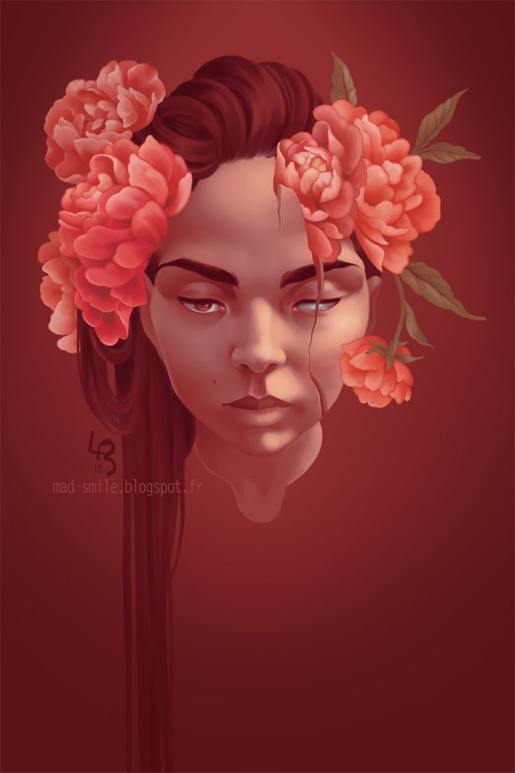 Selfportrait with peonies