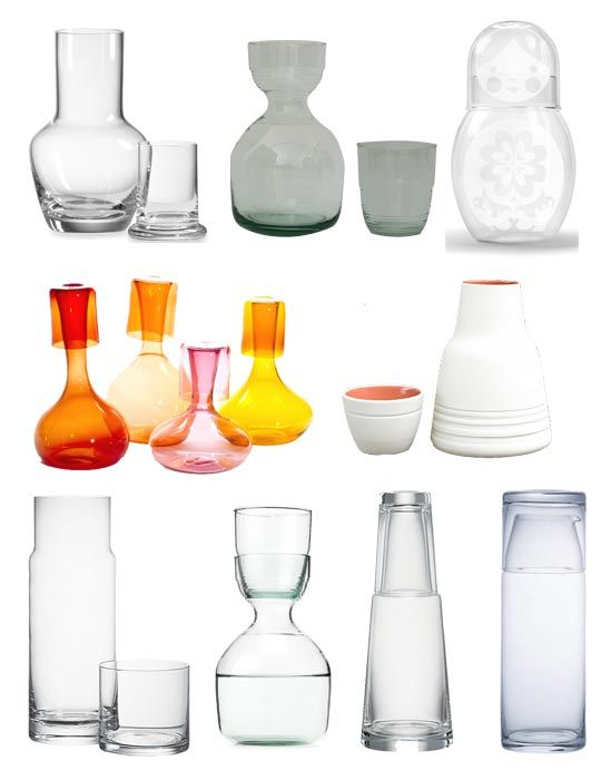 Bedside carafes - perfect for hosting guests - or keeping your kitty's nose out of your bedside water!