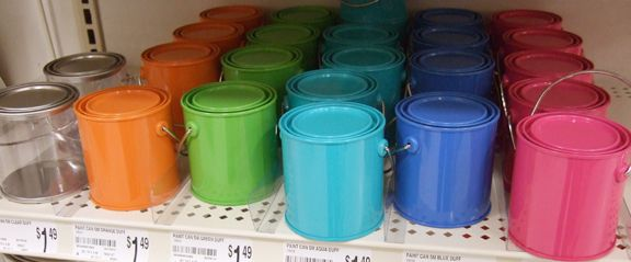 Mini Paint cans from Michaels Arts and Craft store. This would be the perfect thing to make as party favors for the kids.