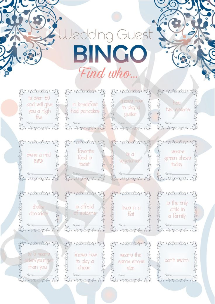 Wedding bingo wedding guest games reception games by ElinaWedding