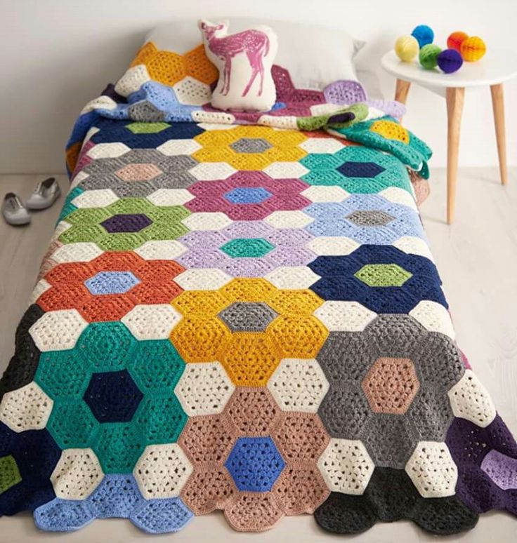 Crochet grandmother's flower garden afghan.