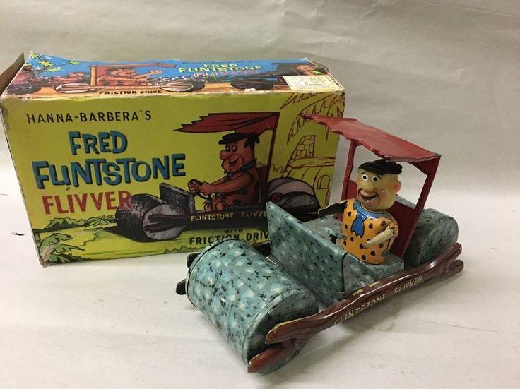 1962 Marx Flintstone Flivver Friction Car Fred Tin Litho With Repro Box #Marx