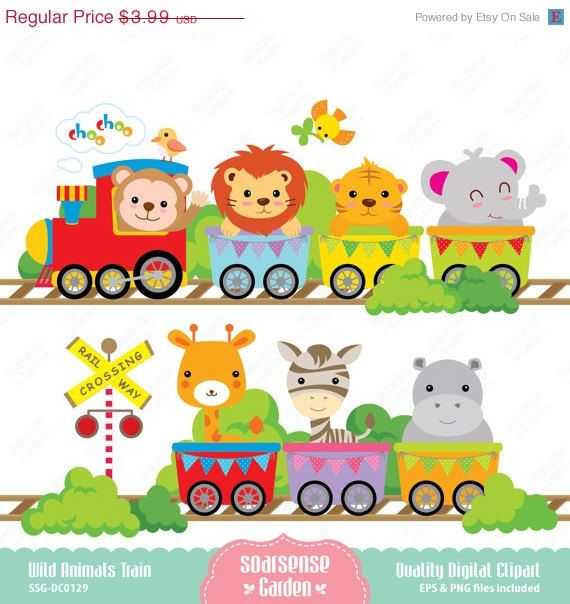 Wild Animals Train Digital Clipart