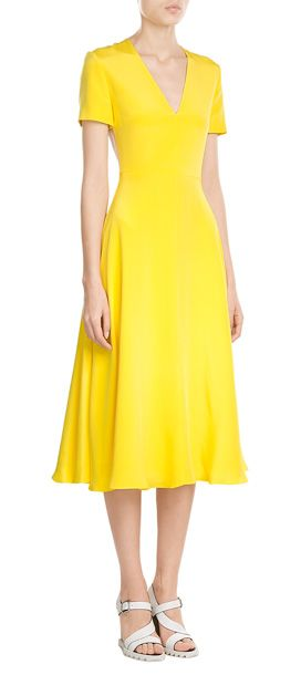 A+vibrant+choice+in+bright+yellow+silk,+this+swish+skirt+dress+from+Roksanda+illuminates.+A+nude+back+panel+gives+the+effect+of+being+bare+while+a+contrast+trimmed+zipper+lends+a+modern+finish+#Stylebop