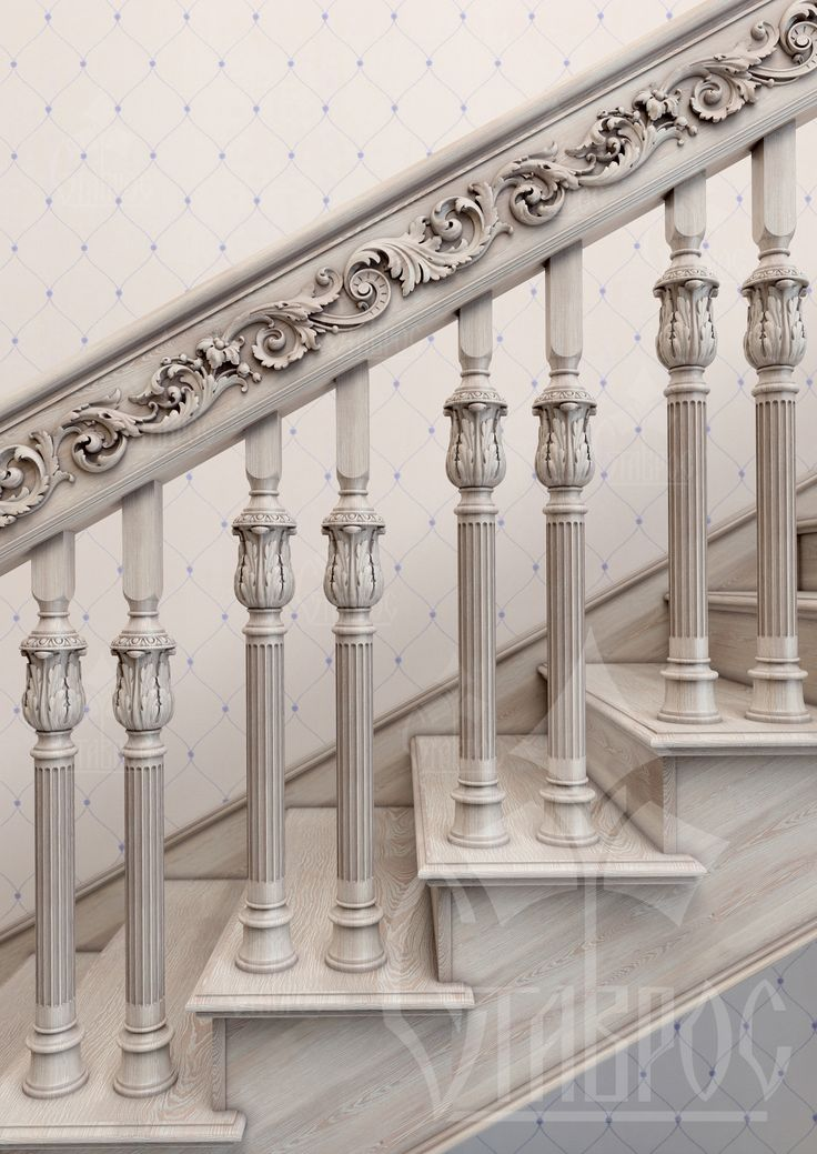Дизайн-проект резной лестницы. Лаконичное сочетание резного декора и цвета отделки древесины (беленый дуб) в оформлении лестничного марша. Цвет беленого дуба невероятно популярен в оформлении жилого пространства. Данный вид отделки придает интерьеру ощущение уюта и естественности. Необычная текстура дерева позволяет применять беленый дуб практически в любом стиле, как в классике, так и в современных направлениях.
