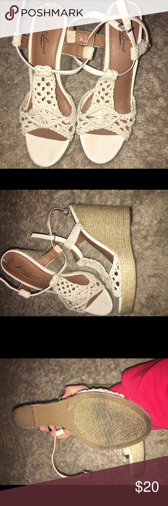 Lucky Brand Cream Wedges excellent condition, adjustable straps around ankle, slight tear on sole from price tag, cream, braided heel Lucky Brand Shoes Wedges