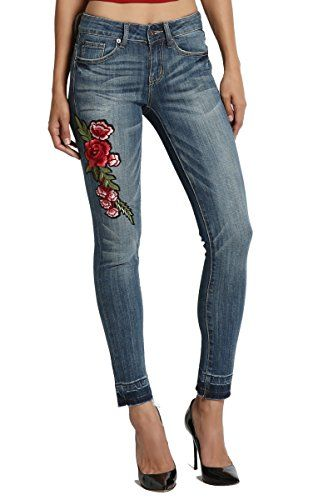 New Trending Denim: TheMogan Womens Floral Embroidered Patch Raw Hem Crop Skinny Jeans Medium 3. TheMogan Women's Floral Embroidered Patch Raw Hem Crop Skinny Jeans Medium 3   Special Offer: $31.99      199 Reviews Beautiful rose embroidery makes unique piece with other details.Mid-rise stretch ultra skinny that hugs the leg from hip to the ankle hem.Complete the vintage-inspired...