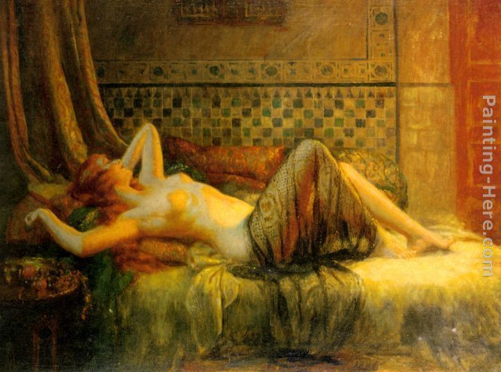 Reclining redhead painting